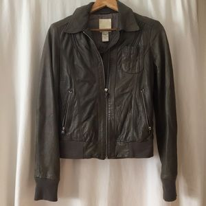 Army Green Leather Diesel Bomber Jacket